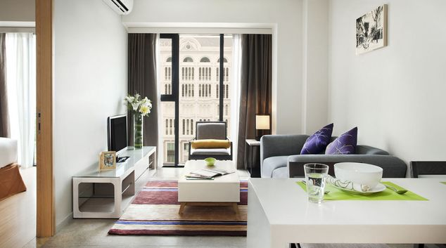 Stylish lounge at Capri Ho Chi Minh Apartments