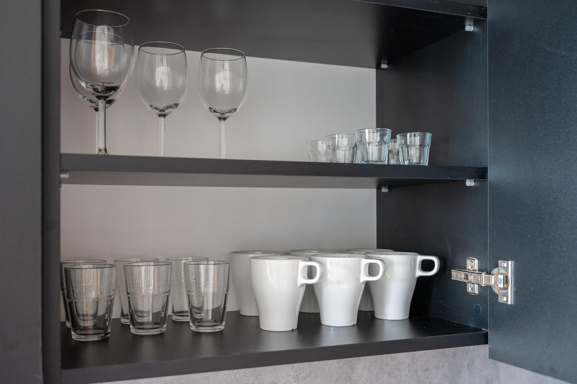 Glasses at Cybernetyki 4 Apartment, Sluzewiec, Warsaw