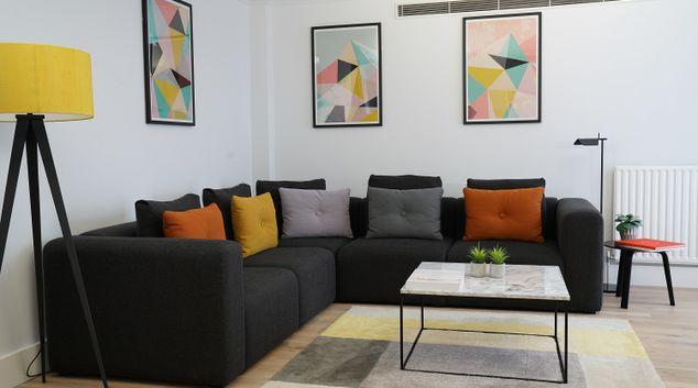 Living area at Monarch House, Kensington, London