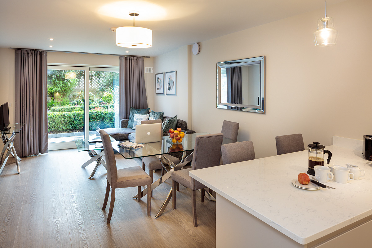 Open-plan at Baggot Rath House Apartments, Ballsbridge, Dublin