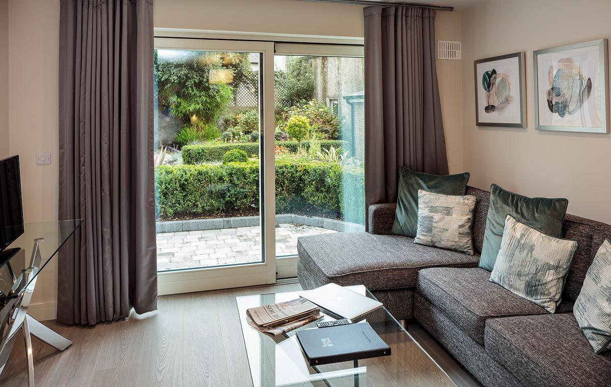 Living area at Baggot Rath House Apartments, Ballsbridge, Dublin
