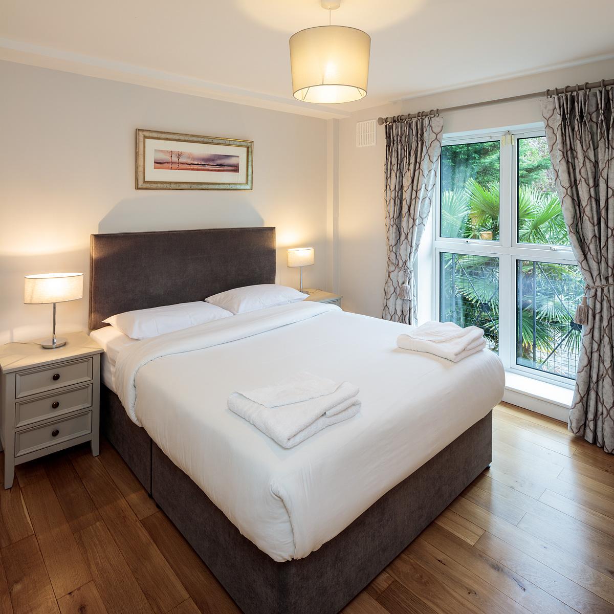 Bright bedroom at Baggot Rath House Apartments, Ballsbridge, Dublin