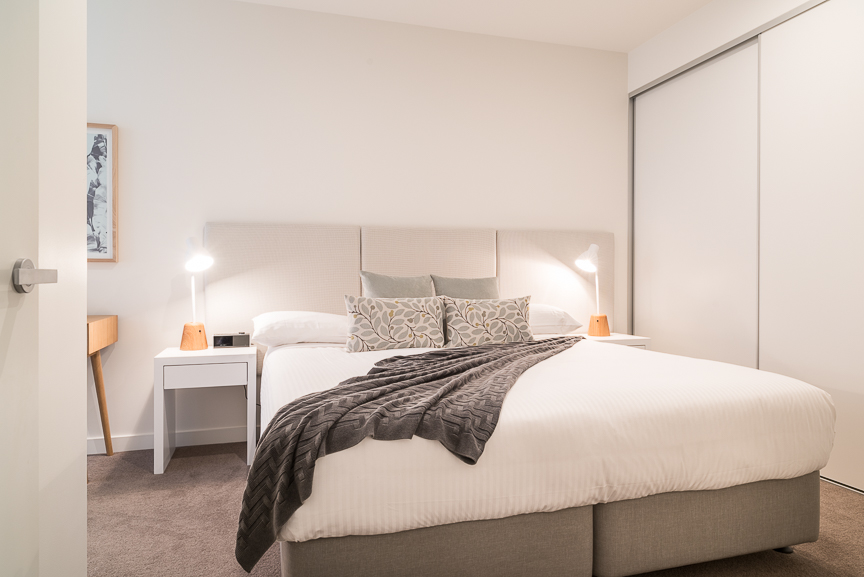 Modern bedroom at Sandy Hill Apartments