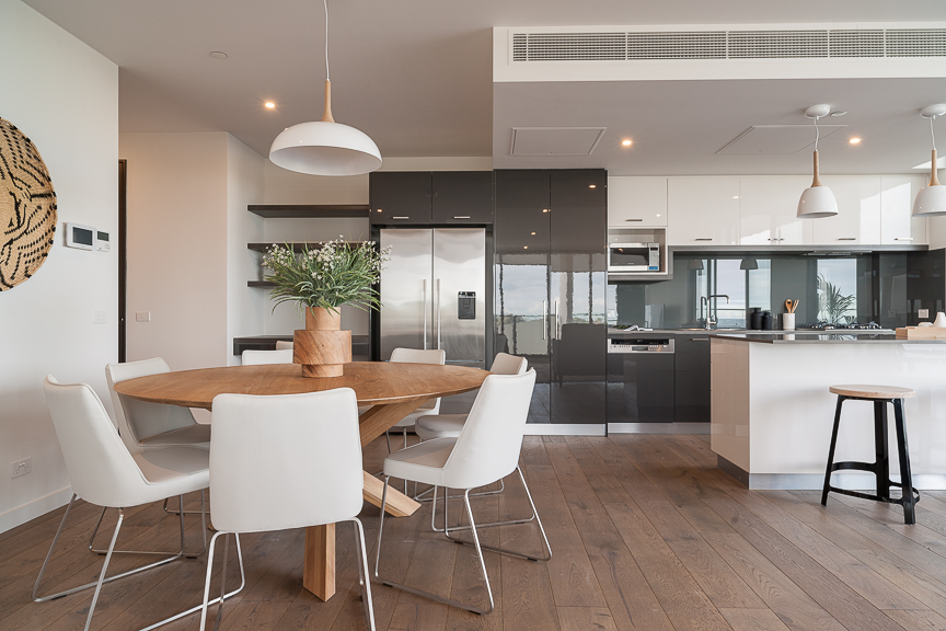 Open-plan kitchen area at Sandy Hill Apartments