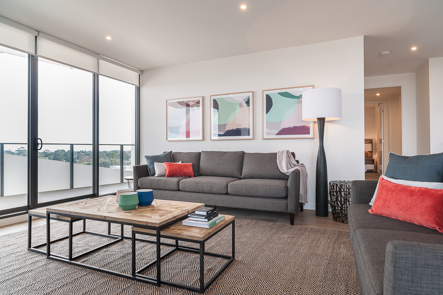 Stylish living area at Sandy Hill Apartments