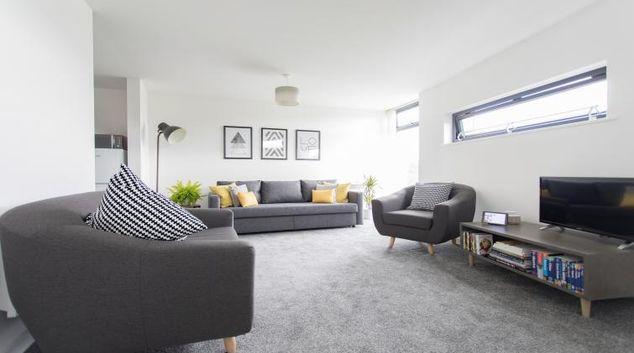 Living room at Bridge Square Apartments