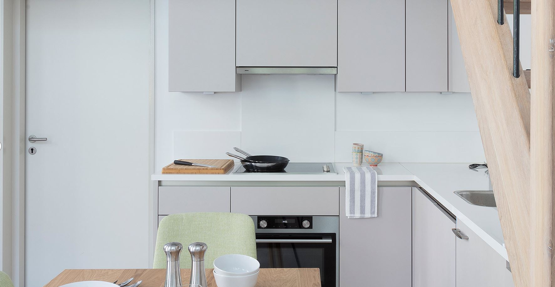 Fully equipped kitchen at The Wittenberg Apartments, Amsterdam
