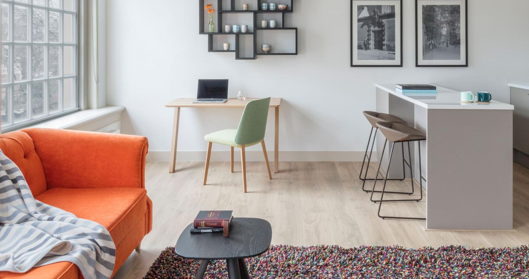 Desk area at The Wittenberg Apartments, Amsterdam