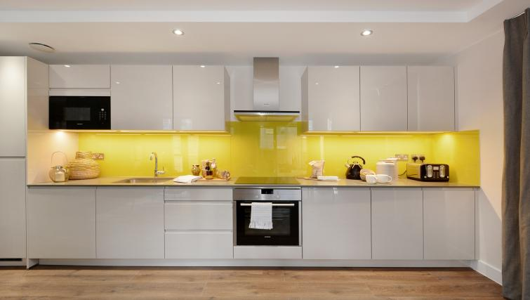 Kitchen at Aldgate City Apartments