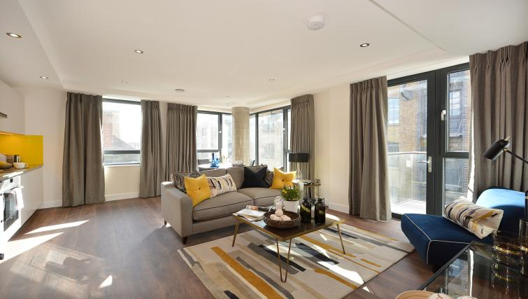 Living area at Aldgate City Apartments