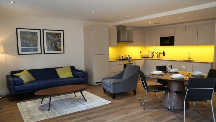 Open-plna living area at Aldgate City Apartments