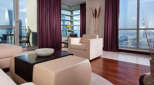 Living area at Pullman Dubai Jumeirah Lakes Towers