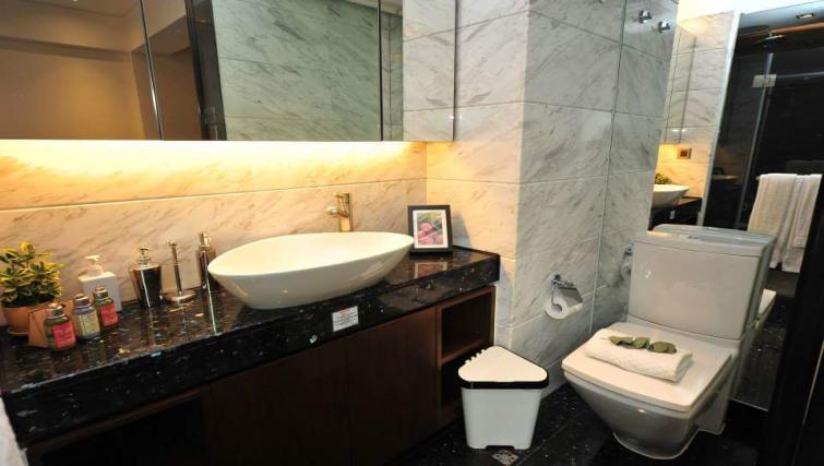 Bathroom at the Y Apartments