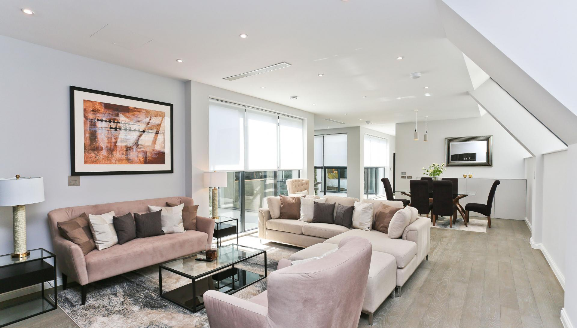 Stylish living room at Buckingham Gate Apartments