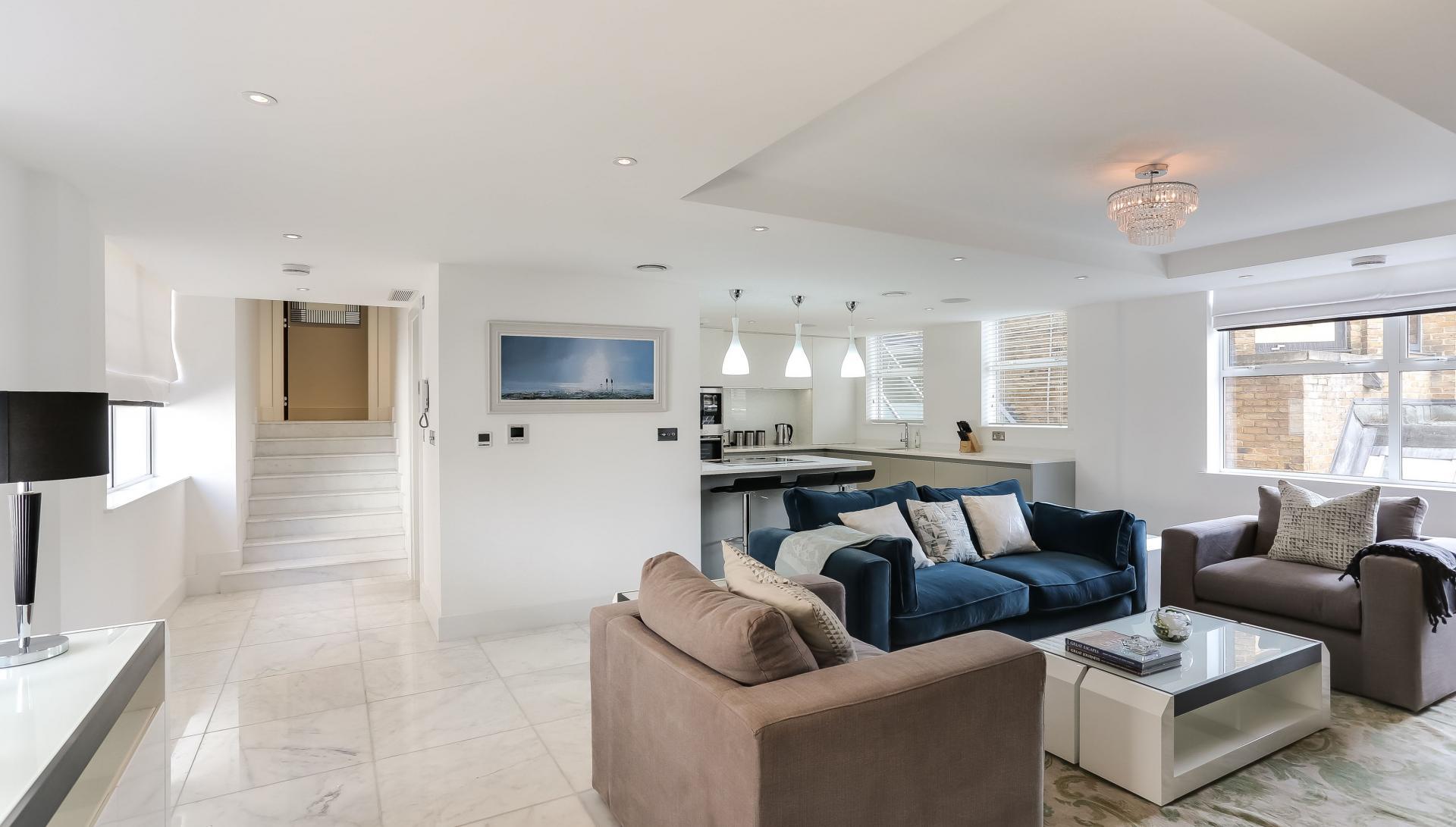 Spacious living area at Buckingham Gate Apartments