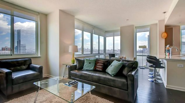 Living area at M2 Apartments, Hudson Exchange, Jersey City