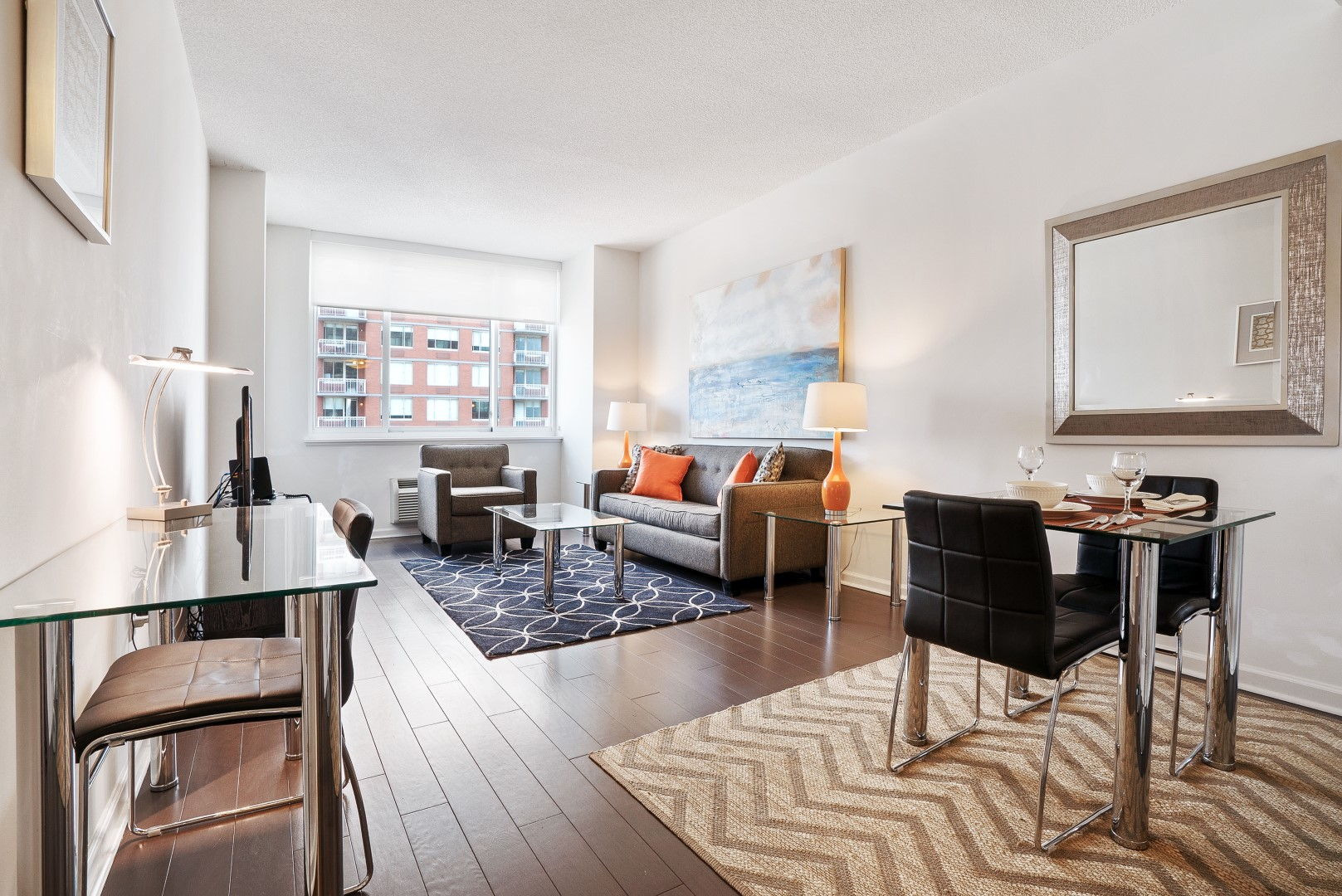 Dining area at M2 Apartments, Hudson Exchange, Jersey City