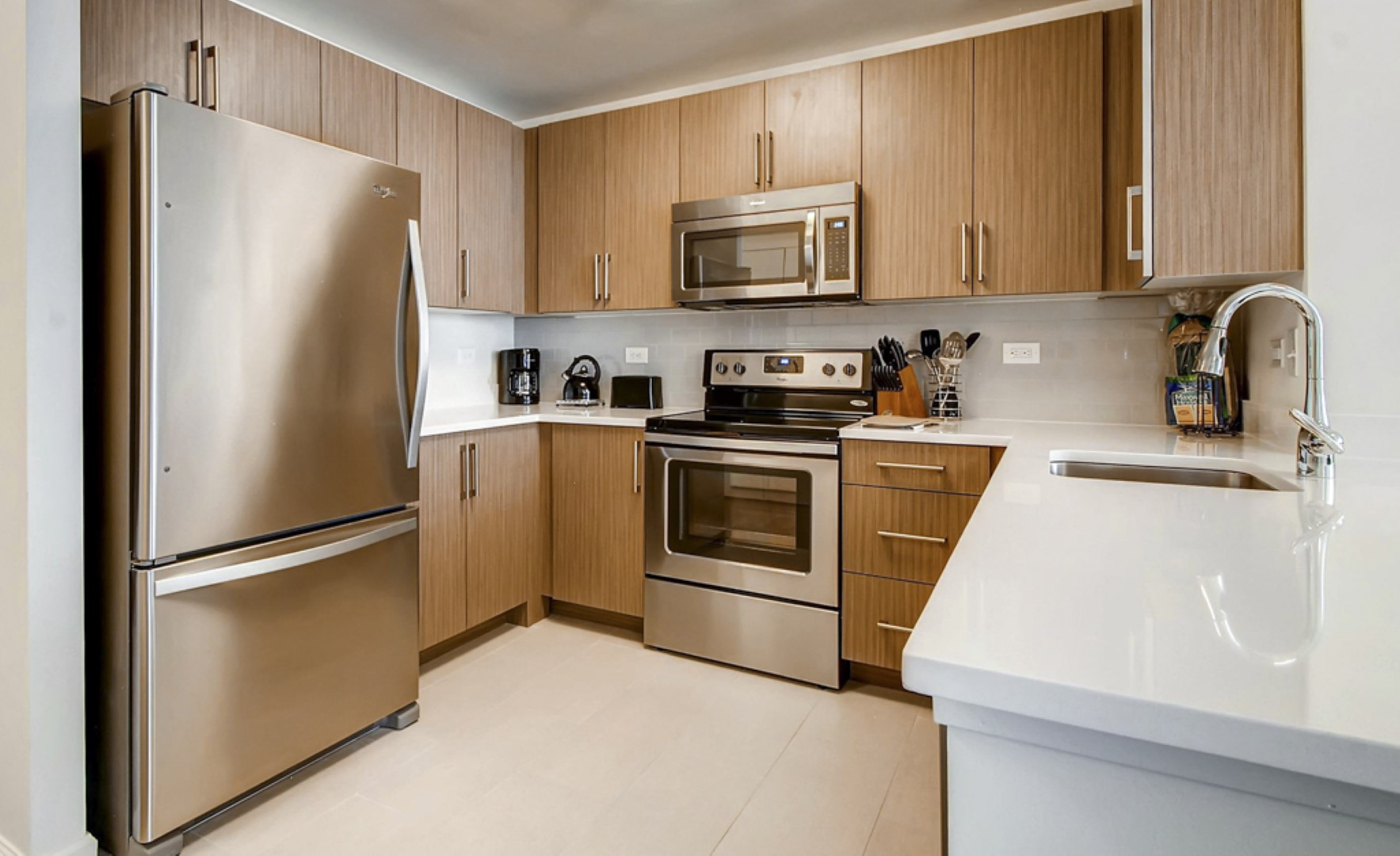 Kitchen at M2 Apartments, Hudson Exchange, Jersey City