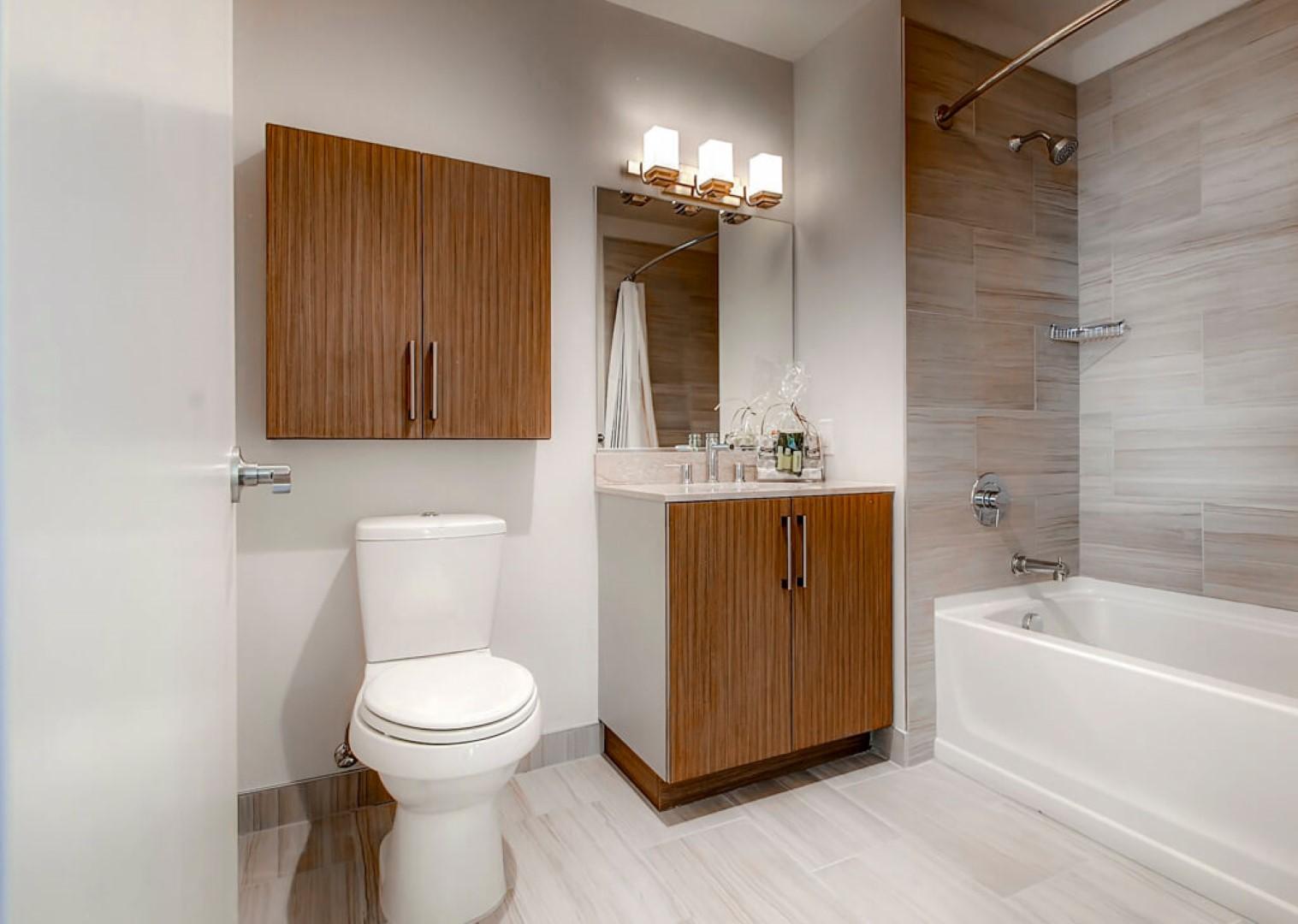 Bathroom at M2 Apartments, Hudson Exchange, Jersey City