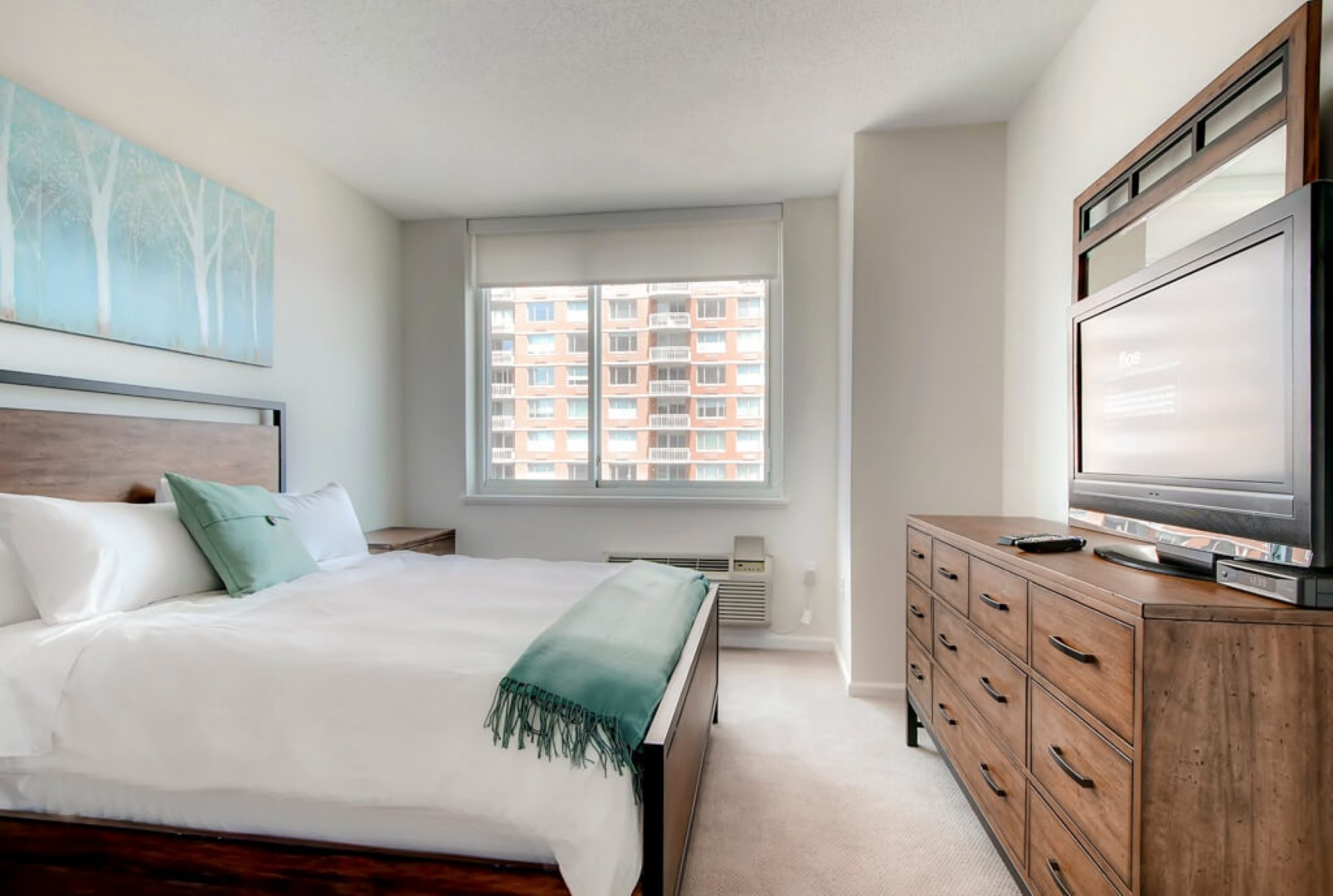 Bed at M2 Apartments, Hudson Exchange, Jersey City