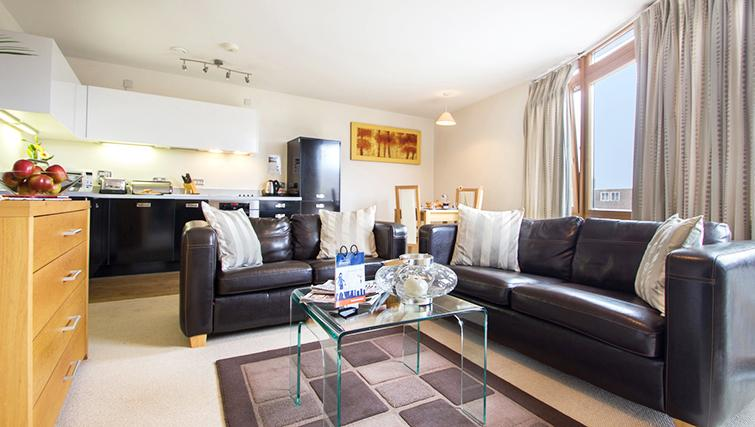 Comfortable living area t The Post Box Apartments
