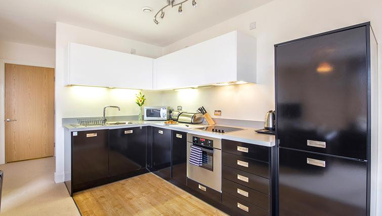 Open plan kitchen in The Post Box Apartments