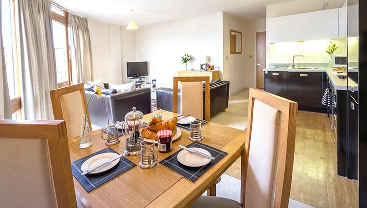 Dining table at The Post Box Apartments