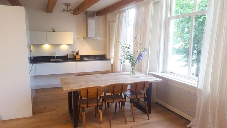 Dining area at 23 Haarlemmplein Apartments, Amsterdam