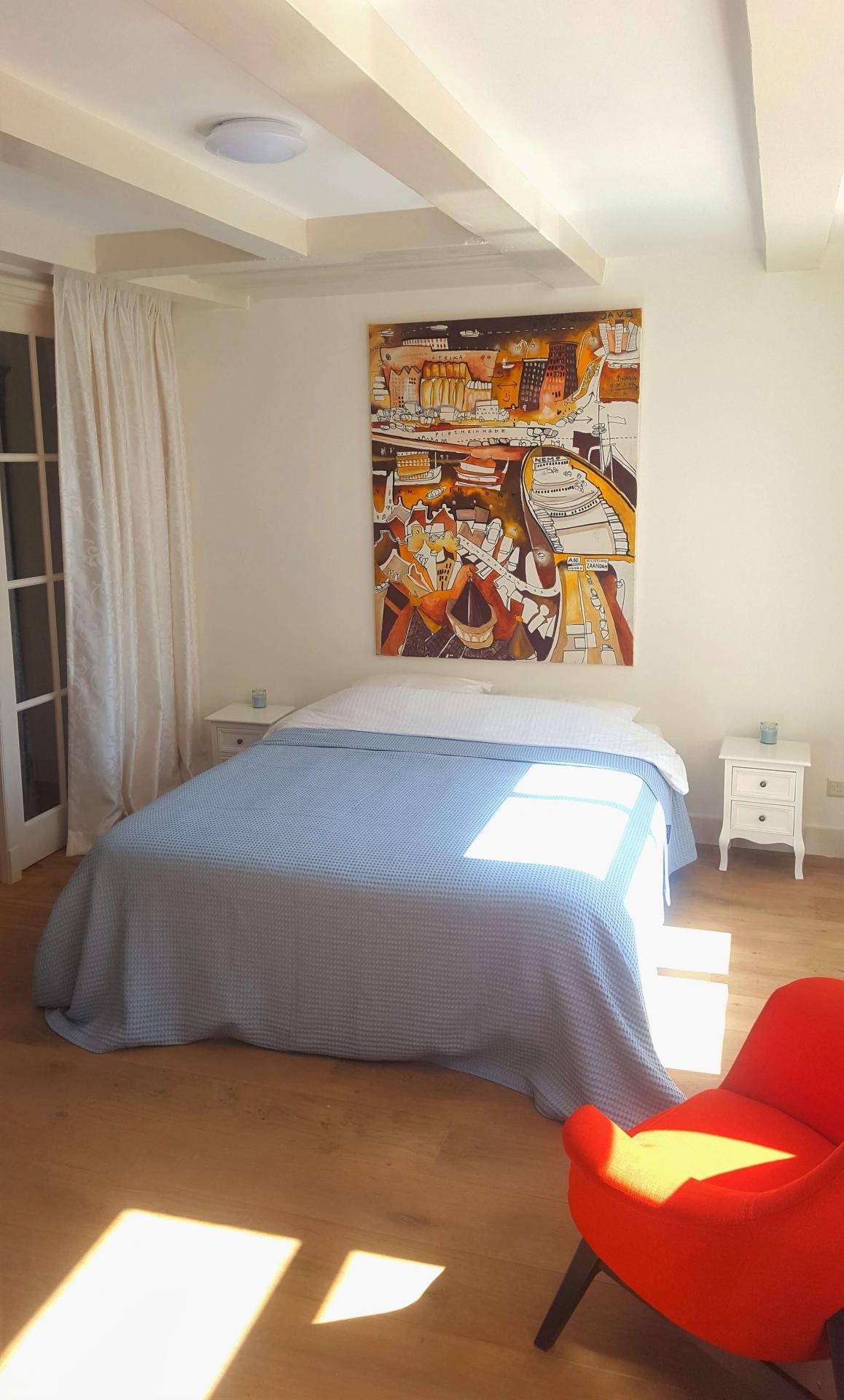 Wall art at 23 Haarlemmplein Apartments, Amsterdam