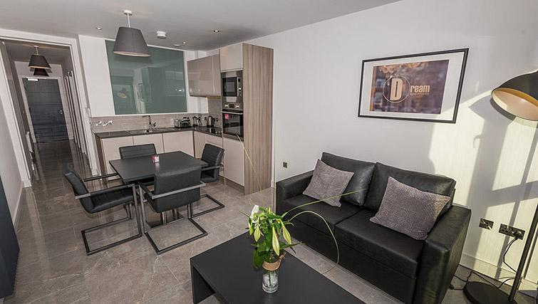 Open plan living area at Gallery at the Dublin Road Apartments