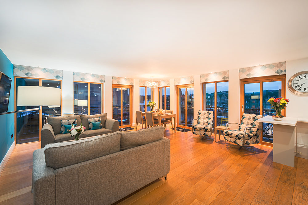 Spacious living area at Highland Apartments, Centre, Inverness