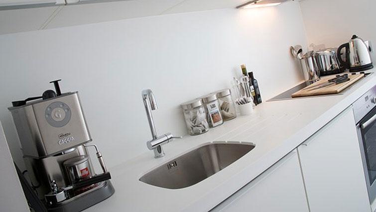 Small kitchen at Staying Cool at The Rotunda