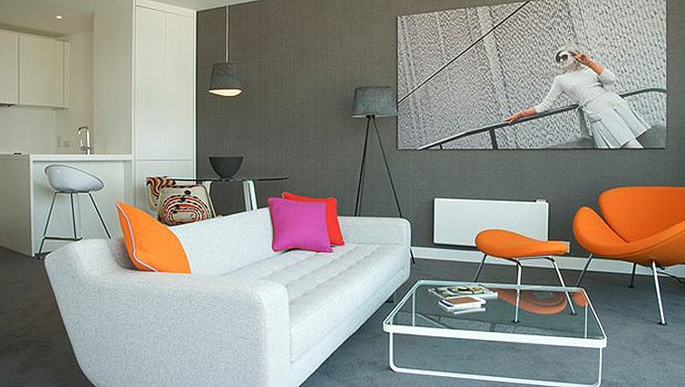 Stylish living area at Staying Cool at The Rotunda
