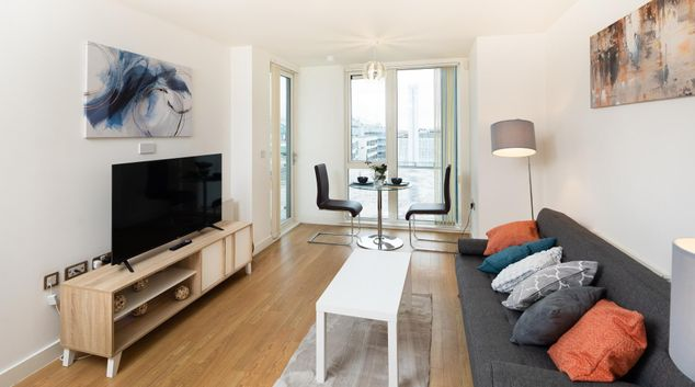 Living area at The Hub Apartment, Centre, Milton Keynes