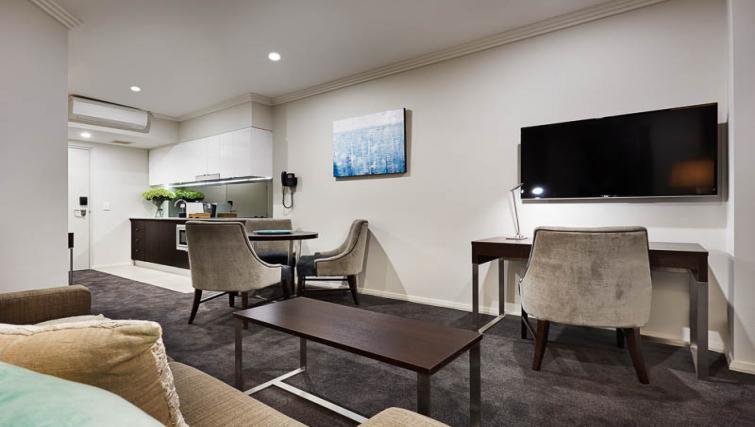Open-plan living at Attika Apartments