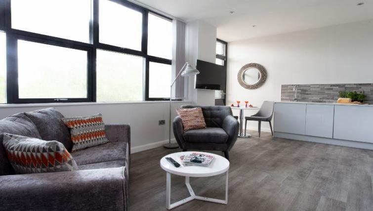 Modern living area at Cotels at 7Zero1 Apartments