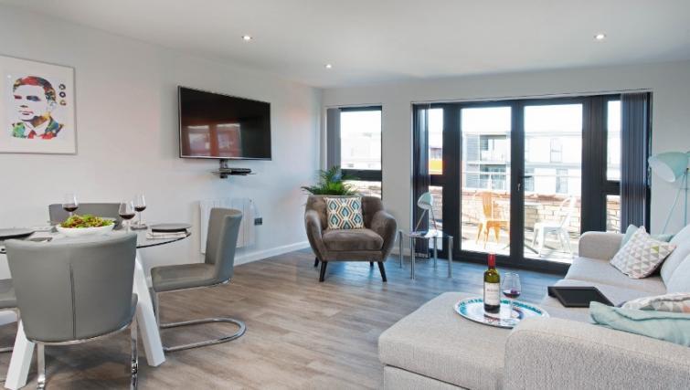 Spacious living area at Cotels at 7Zero1 Apartments