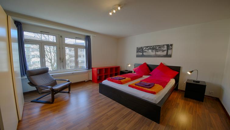 Bedroom at the Oerlikon Apartments