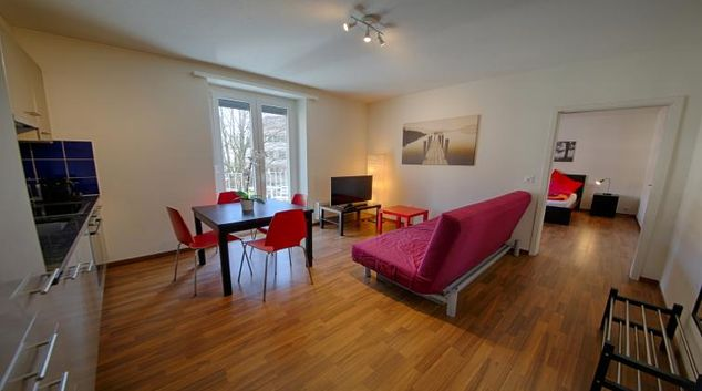 Living room at the Oerlikon Apartments