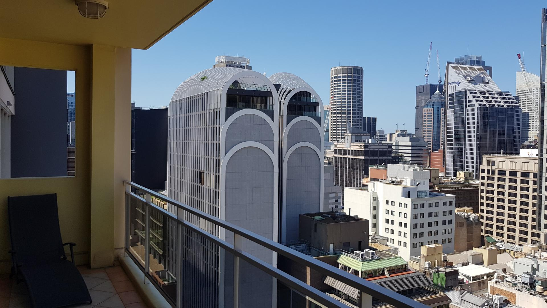 Balcony view at Downtown Apartments