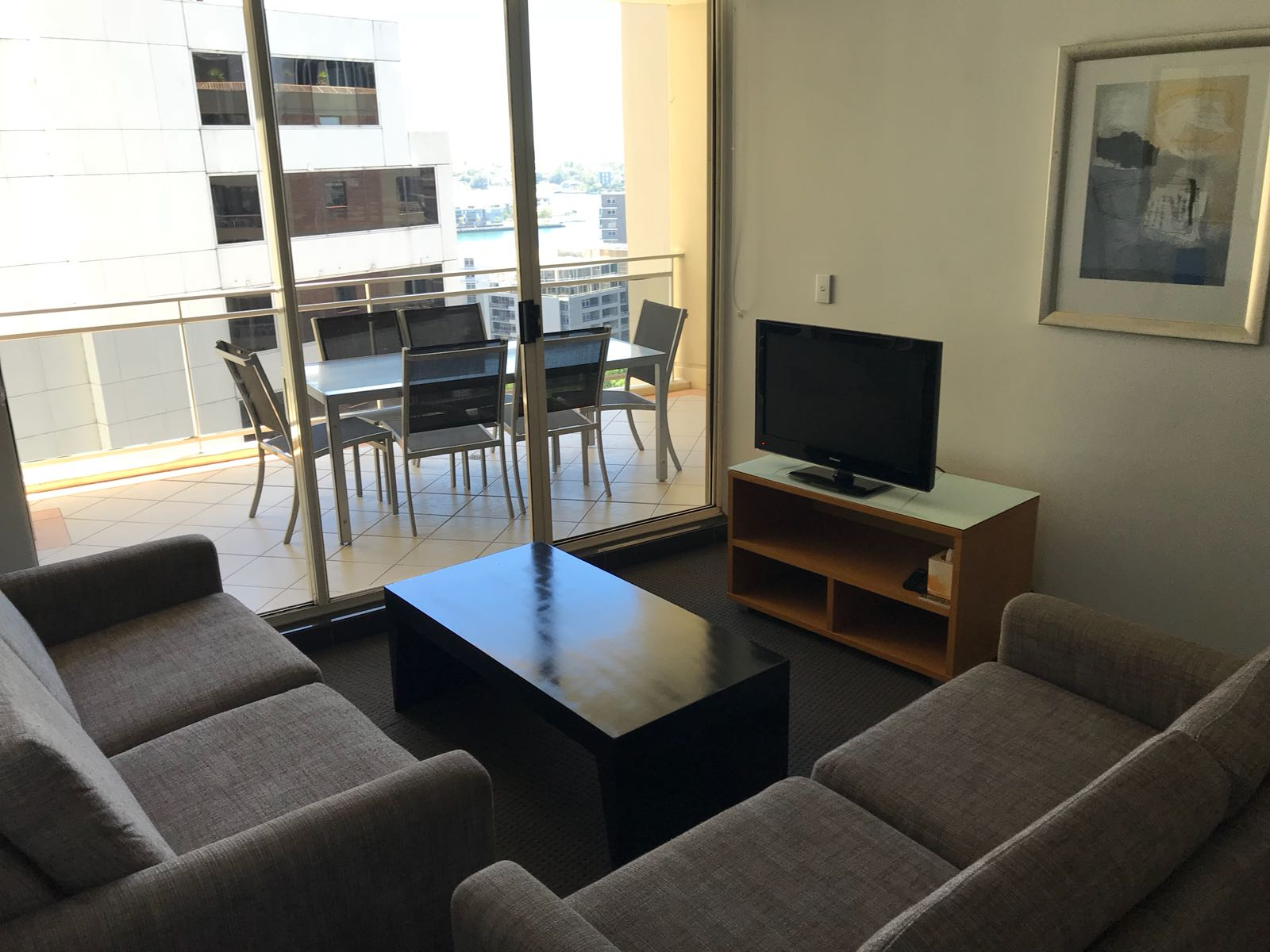 Living area at the Downtown Apartments