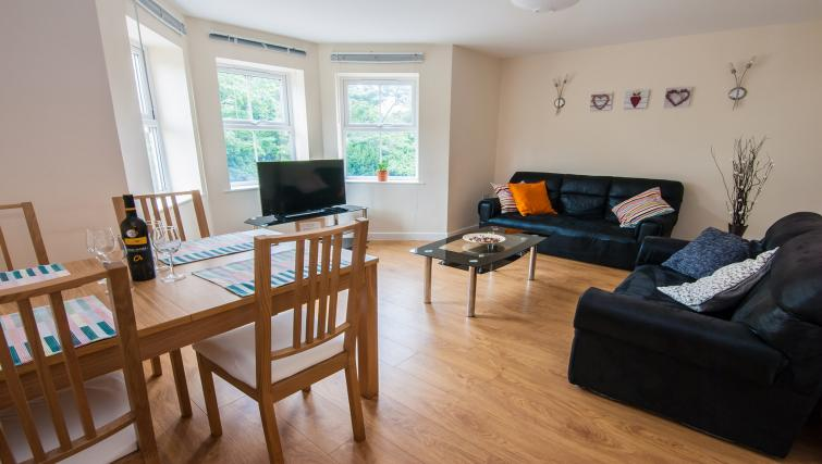 Living area at Manor Apartments
