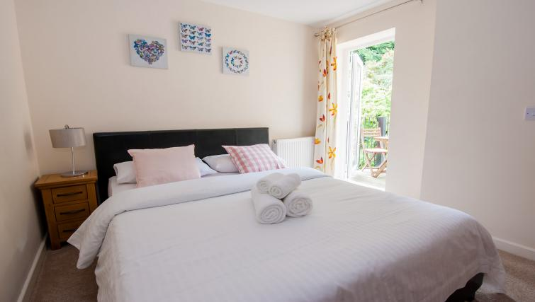 Bright bedroom at Manor Apartments