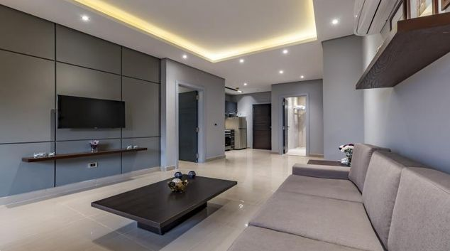 Living area at New Cairo Apartments