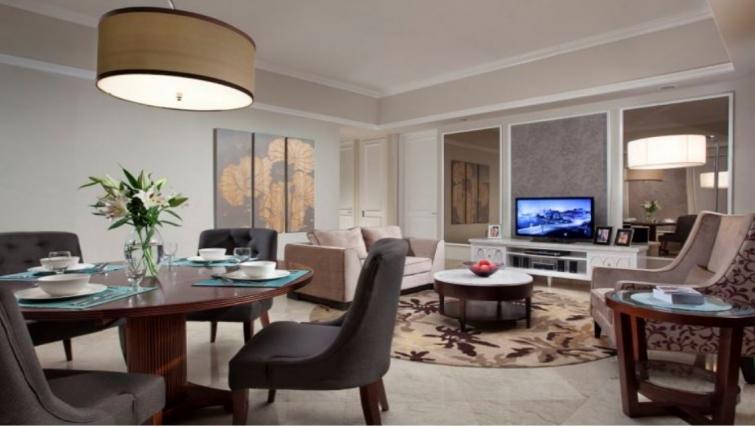 Grand living area in Ascott Jakarta Apartments