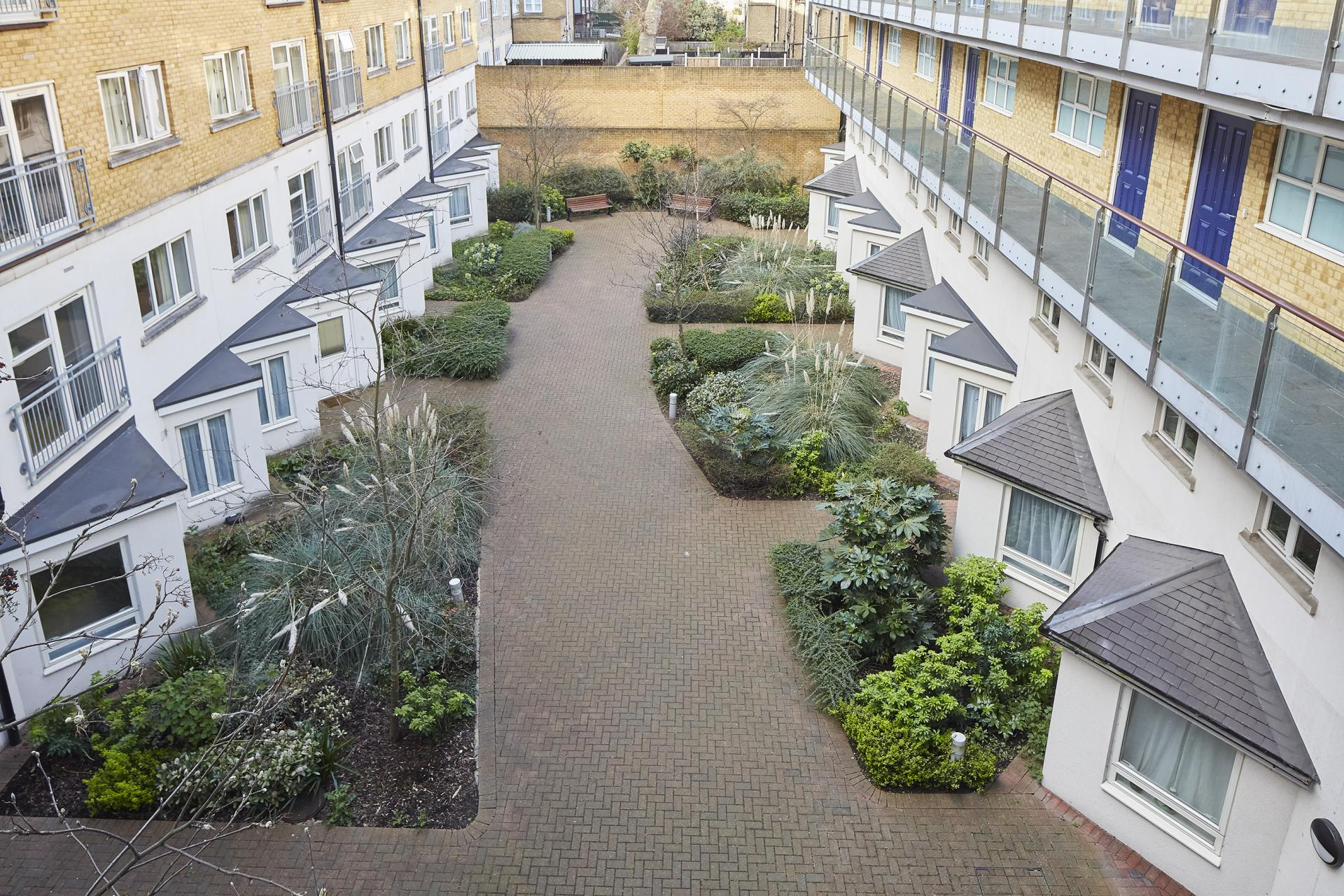 Courtyard at Limehouse Apartments, Limehouse, London