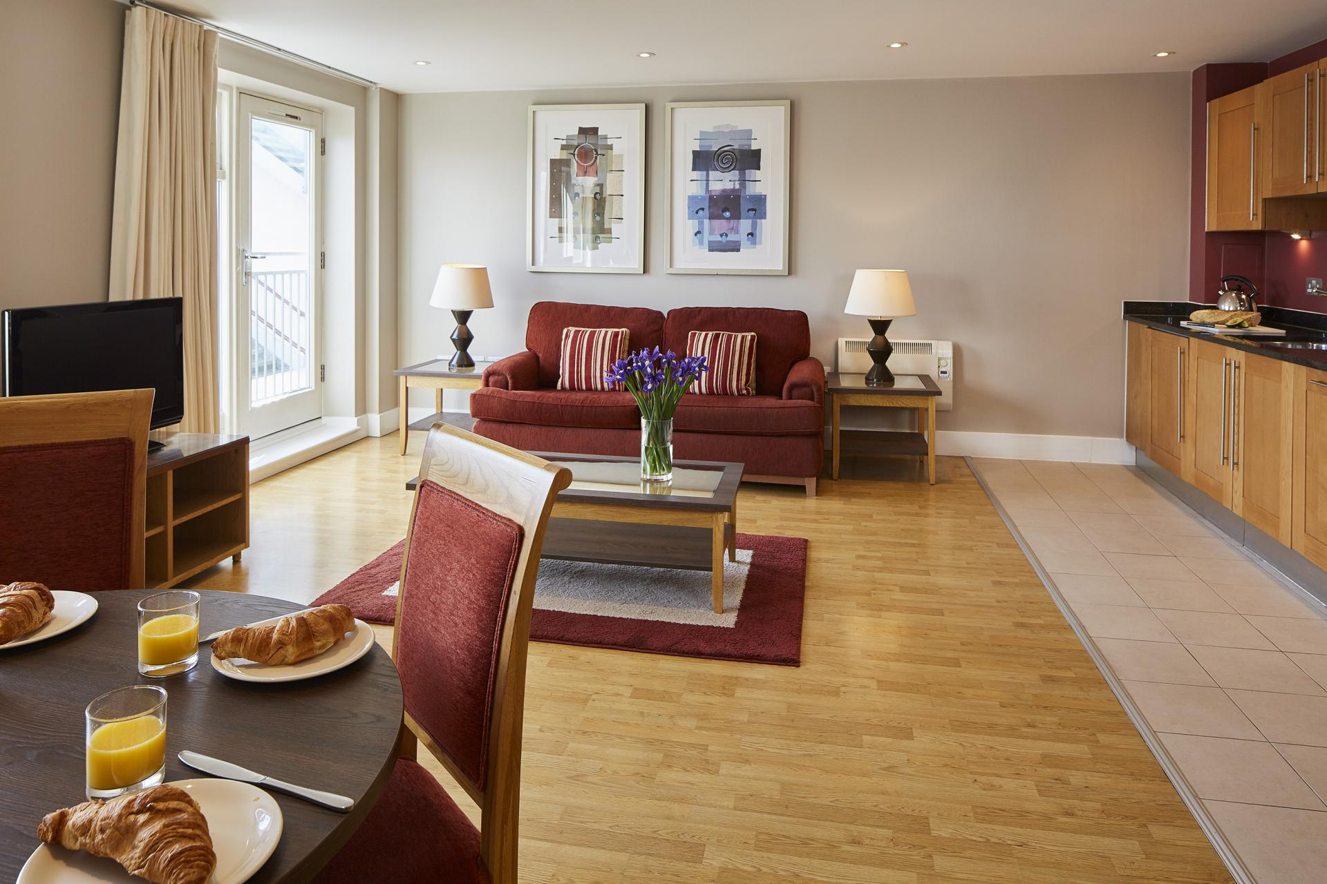 Living area at Limehouse Apartments, Limehouse, London