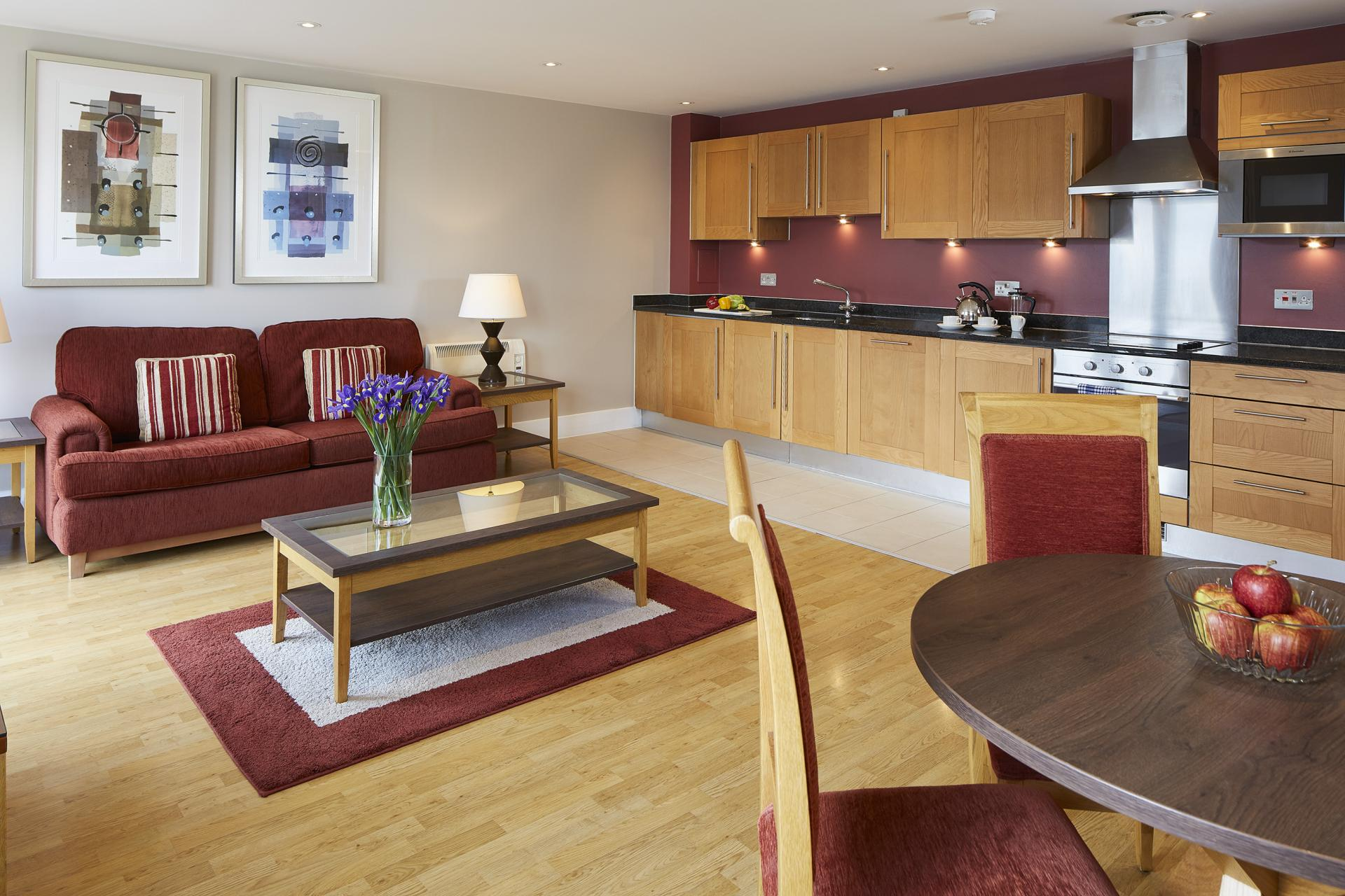 Kitchen diner at Limehouse Apartments, Limehouse, London