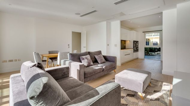 Living room at Fulham River Side Apartments