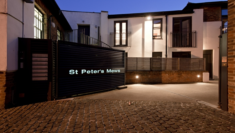 Modern exterior of St Peters Mews Apartments